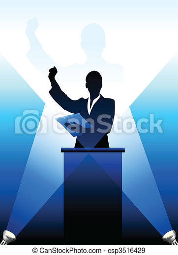 Business/political speaker silhouette behind a podium  - csp3516429