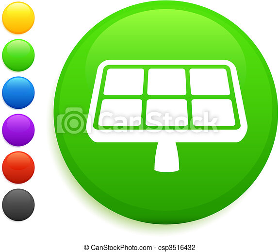 solar panel icon on round internet button - csp3516432