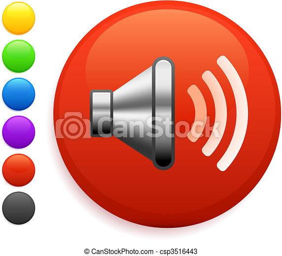 speaker icon on round internet button - csp3516443