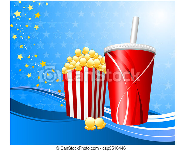 Popcorn and cup of soda on film background - csp3516446