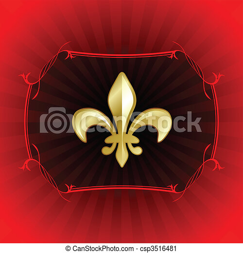 fleur de lis on red internet background - csp3516481