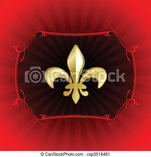 fleur de lis on red internet background - csp3516481