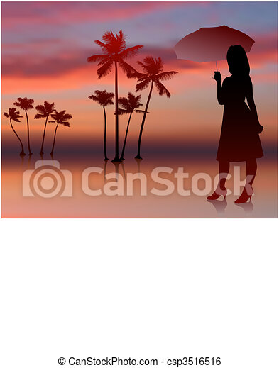 sexy woman on sunset background with trees - csp3516516
