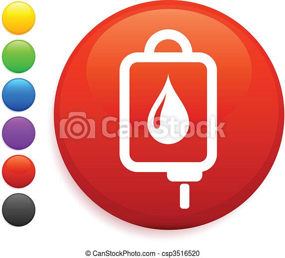 Intravenous therapy icon on round internet button - csp3516520