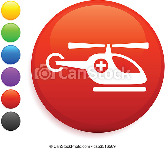 helicopter icon on round internet button - csp3516569