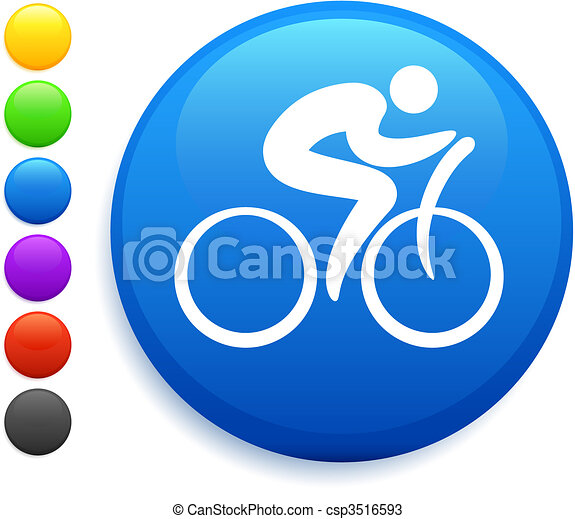 cyclist icon on round internet button - csp3516593