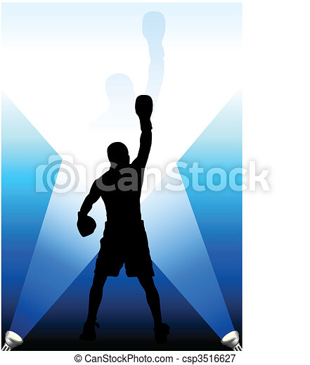 boxing under the bright lights background - csp3516627