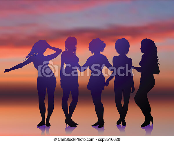 Sexy young women dancing on summer sunset background - csp3516628