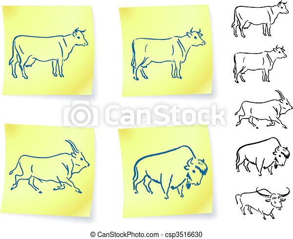 cow buffalo and bison on post it notes - csp3516630