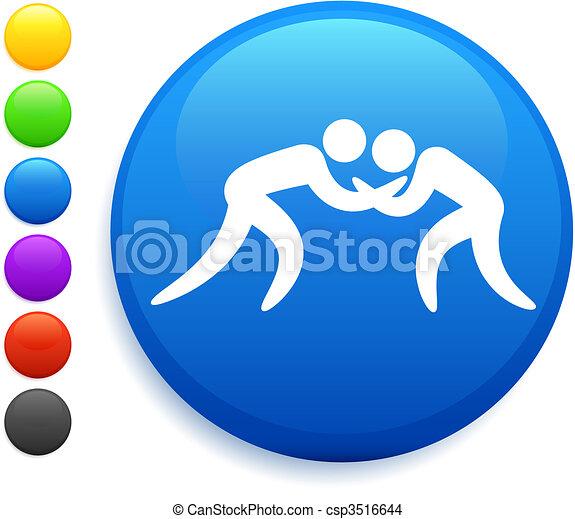 wrestling icon on round internet button - csp3516644