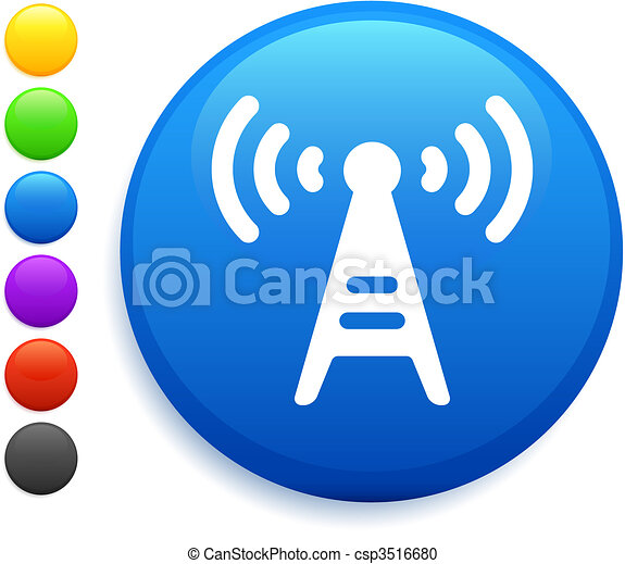 radio tower icon on round internet button - csp3516680