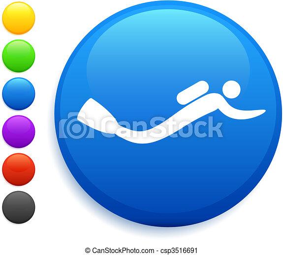 scuba icon on round internet button - csp3516691