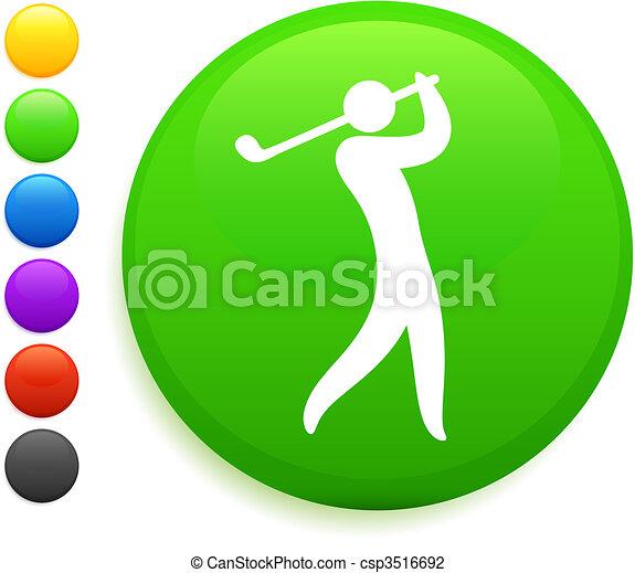 swing icon on round internet button - csp3516692