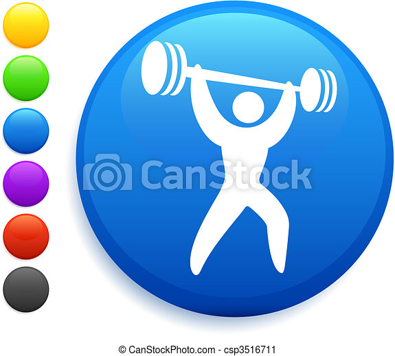 weightlifter icon on round internet button - csp3516711