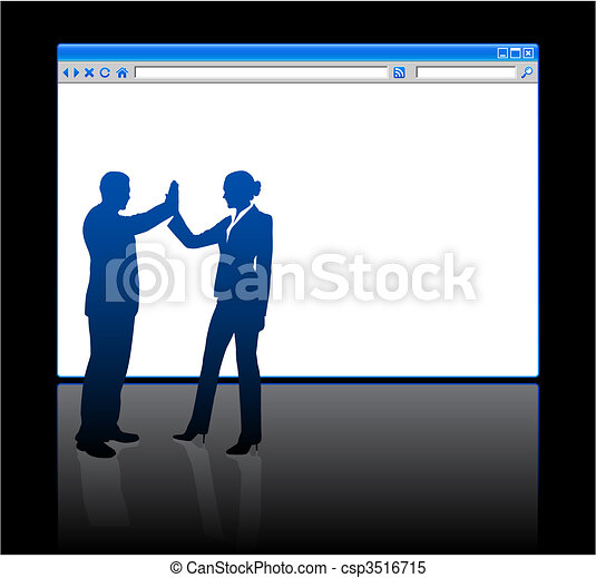 Business people on background with web browser blank page - csp3516715