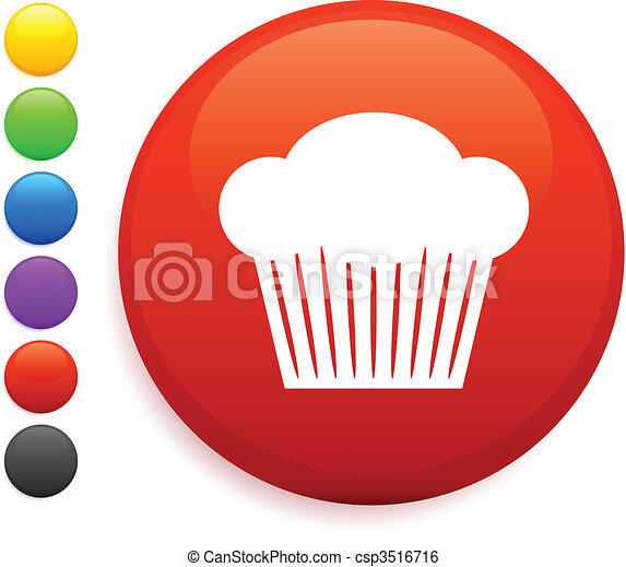 muffin icon on round internet button - csp3516716