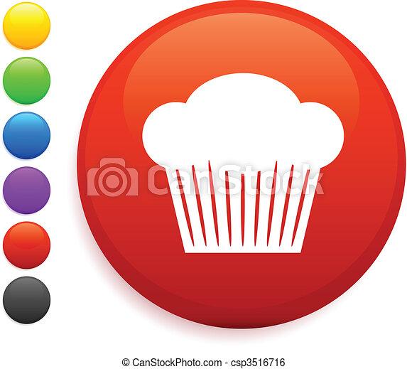 muffin icon on round internet button - csp3516716