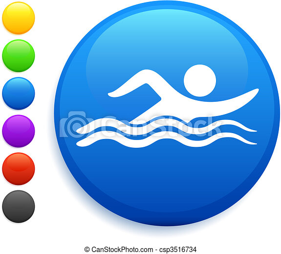 swimming icon on round internet button - csp3516734