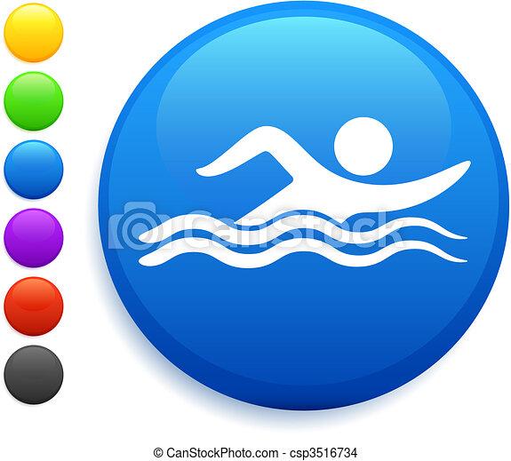 swimming icon on round internet button - csp3516734