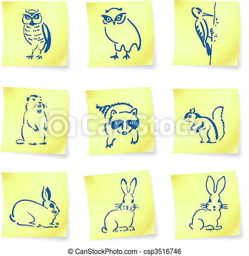 forest creatures drawings on post it notes - csp3516746