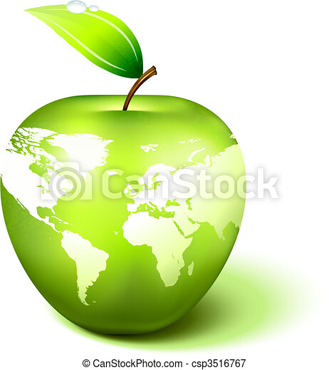 Apple Globe with World Map - csp3516767