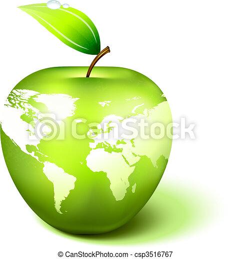 Apple Globe with World Map - csp3516767