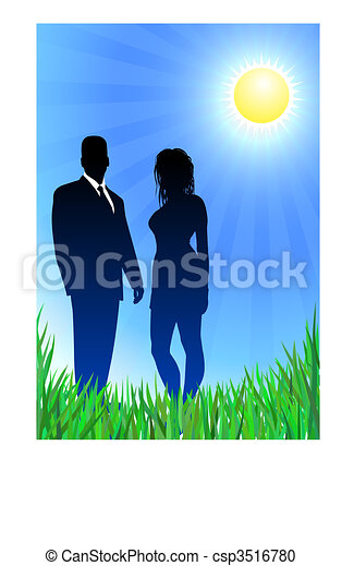 Glamor couple on summer background - csp3516780