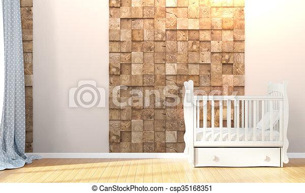 Modern empty children's room . 3D render - csp35168351