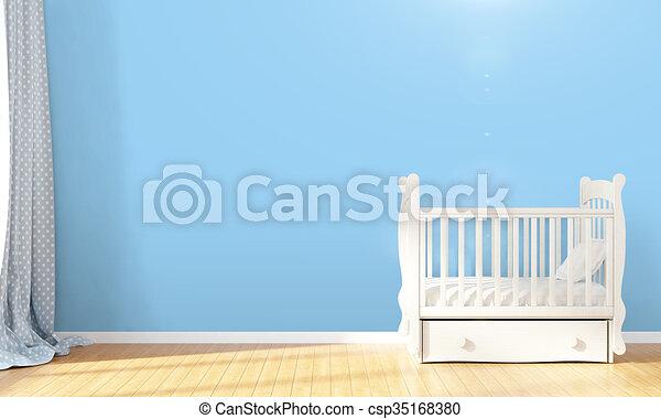 Modern empty children's room . 3D render - csp35168380