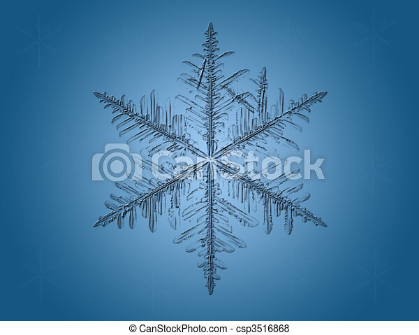 Lite Blue Snowflakes on blue background - csp3516868