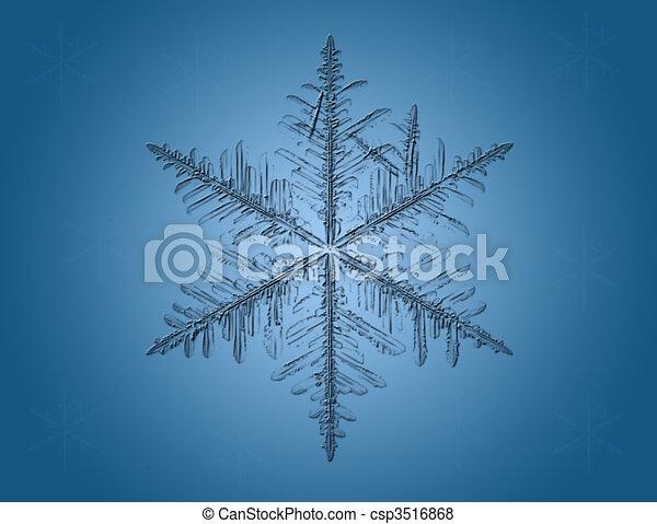 Lite Blue Snowflakes on blue background - csp3516868