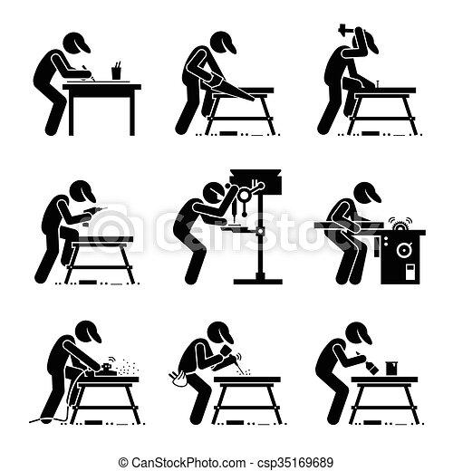 Vector of Carpenter Woodworking Tools - Set of vector stick man... csp35169689 - Search Clip Art ...