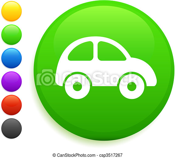 car icon on round internet button - csp3517267