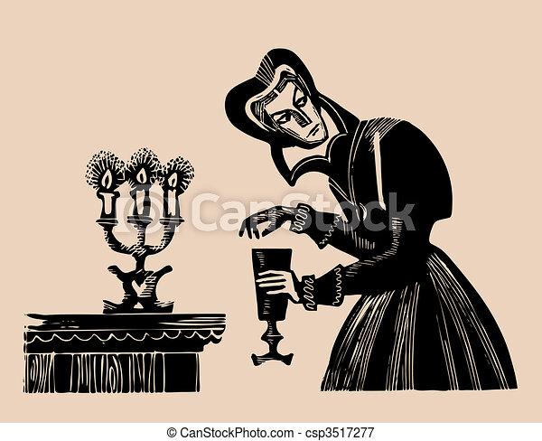 poison wine etching - csp3517277