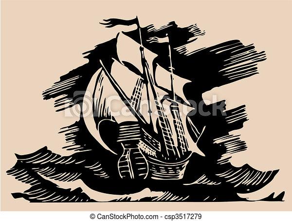 sail ship etching - csp3517279