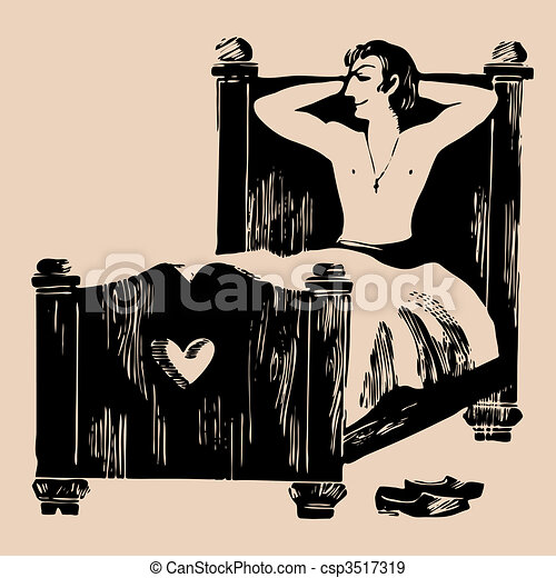 young man in bed etching - csp3517319
