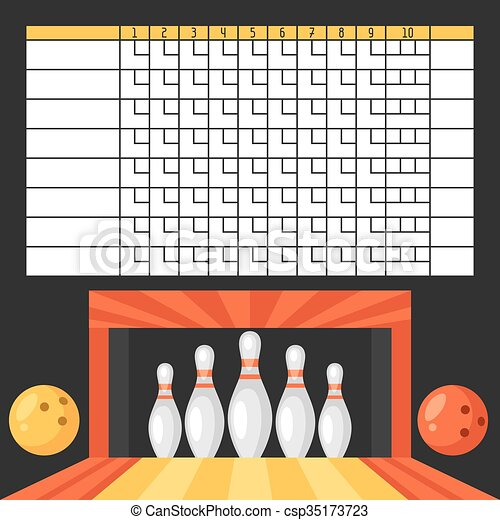 Vector Illustration Of Bowling Score Sheet. Blank Template