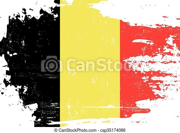 Belgian scratched Flag - csp35174086