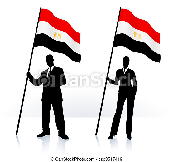 Business silhouettes with waving flag of Egypt - csp3517419