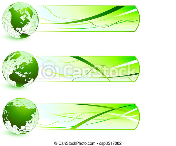 Green Nature Icons  with Banners - csp3517882