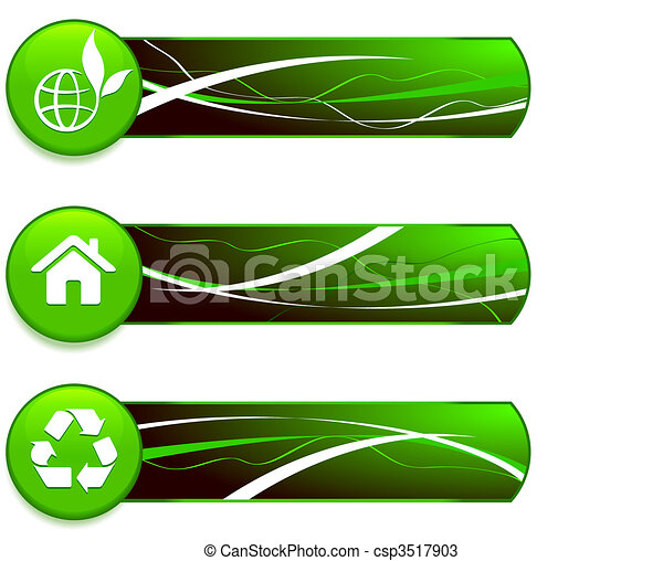 Green Nature Icons on Internet Buttons with Banners - csp3517903