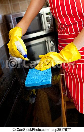 Close-up of a caucasian woman doing housework - csp3517977