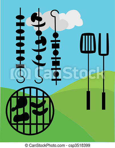 picnic and BBQ outside - csp3518399
