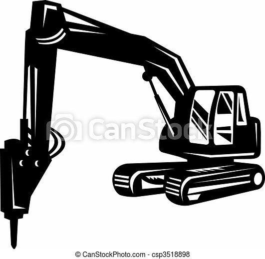 Stock Illustration of mechanical digger or excavator isolated on white ...