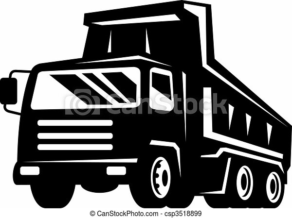dump truck viewed from front at low angle - csp3518899