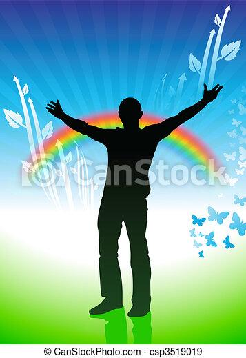 Man on Rainbow Environmental Conservation Background - csp3519019