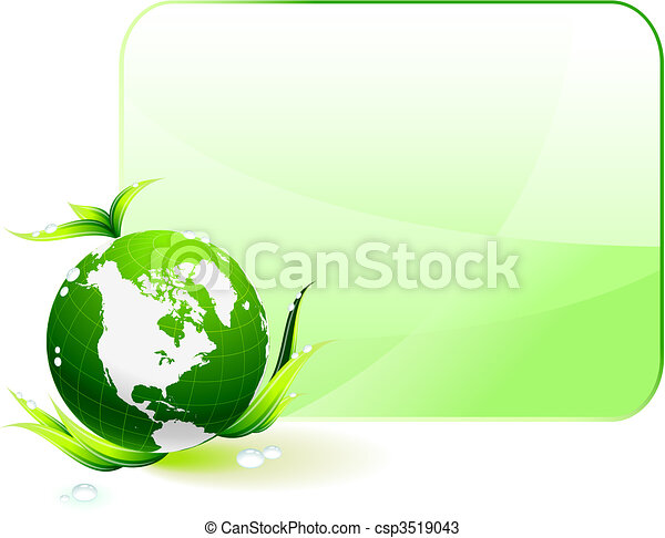 Globe on Green Environmental Conservation Background - csp3519043