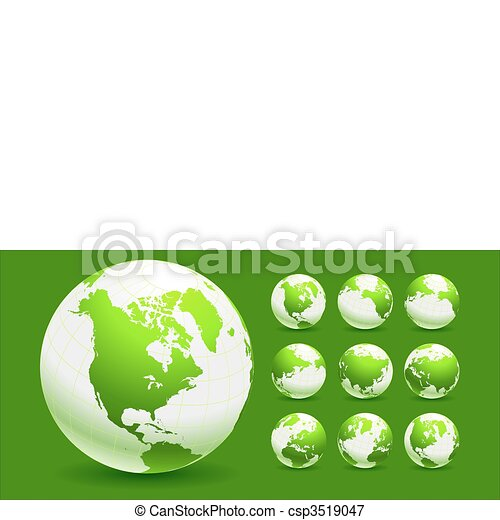 Green Globe Environmental Conservation Background - csp3519047