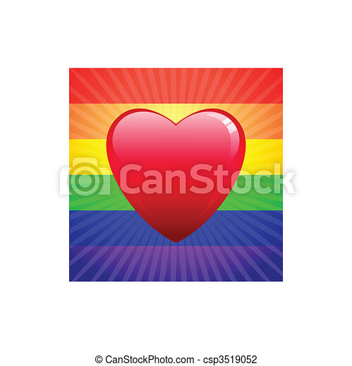 heart on glowing Gay Pride background - csp3519052