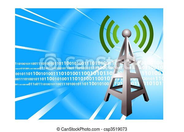 Digital Radio tower wave modern Background - csp3519073